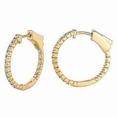 Jewelry Point - 1/2 Carat Diamond Inside Out Hoop Earrings 14k Yellow Gold Antique Style, $775.00 (http://www.jewelrypoint.com/1-2-carat-diamond-inside-out-hoop-earrings-14k-yellow-gold-antique-style/)