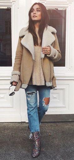 #winter #fashion / Camel Coat + Destroyed Jeans