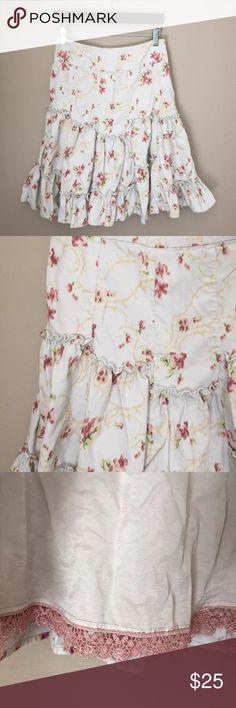 """Anthropologie size 2 Corduroy Floral Print skirt Edme & esyllte Anthropologie size 2 100% cotton corduroy skirt. Flat lay measurements.                                 Waist 14"""".                                                                                  Length 22"""" Anthropologie Skirts A-Line or Full"""