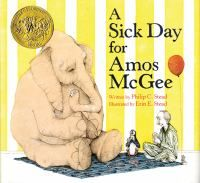A Sick Day for Amos McGee by Philip C. Stead. Yellow book, sweetest story ever. Preschool.