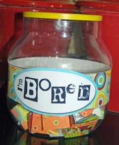 """DIY I'm Bored Jar: if they are lucky, they might draw """"make cookies with mom"""" . However, they might also draw """"go clean your room"""". They will definitely think twice."""