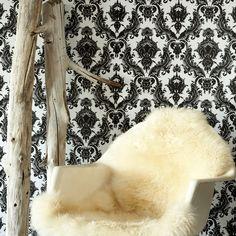 Damsel Repositionable Self Adhesive Wallpaper - Black/White