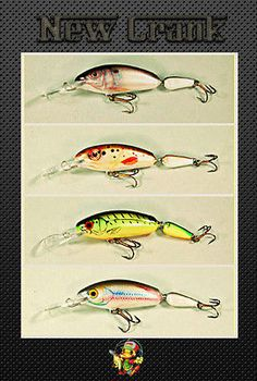 4 pcs Ugly Duckling Fishing Lures Jointed Balsa Wood Lures, bass,walleye,muskie - Crankbaits