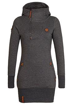 7384475bb6 Stylish Hooded Long Sleeve Spliced Zip Up Women s Hoodie
