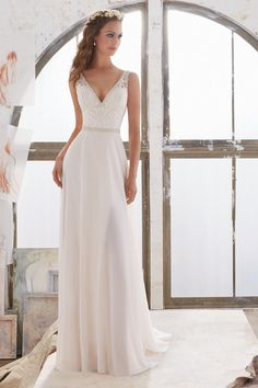 Classic wedding dress idea - sheath gown with lace bodice and simple skirt. Style 5505 by @morileewedding