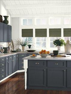 Benjamin Moore Midnight Blue 1638  kitchen island color idea.