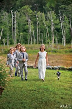 Little Darlings - The page boys and flower girl, Carolina Lansing, with Frisbee, Ashe and Meyers's Italian greyhound, make an entrance at the ceremony.