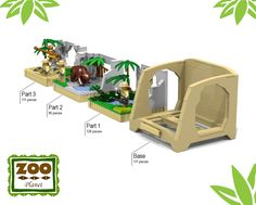Hi Lego-fans, this is my new amazing project, which is the Zoo Collection.This set contains three parts with one base, that you can switch with the three lego animal presentat. Lego Zoo, Lego Furniture, Minecraft Furniture, Lego Super Mario, Lego Animals, Lego Activities, Lego Craft, Lego Modular, Cool Lego Creations
