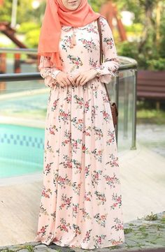 Pleated Spring Dress - Powder We have organized the newest fashion clothes for you. Hijab Evening Dress, Hijab Dress Party, Hijab Style Dress, Hijab Outfit, Hijab Fashion Summer, Abaya Fashion, Spring Fashion, Muslim Women Fashion, Islamic Fashion
