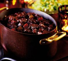 Scottish Venison stew -Succulent braised venison - my go-to winter dinner party recipe. Utterly delicious, rather impressive and fab with potato dauphinoise. Plus, you don't have to slave over the stove! Deer Recipes, Wild Game Recipes, Bbc Good Food Recipes, Cooking Recipes, Yummy Food, Slow Cooking, Cooking Games, Tasty, Easy Recipes