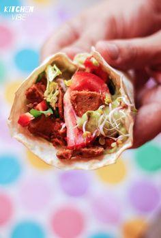 vegan wrap with seitan and vegetables
