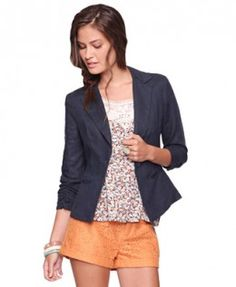 I really like the blazer/jacket look here. But i wouldn't pair the shorts with it.