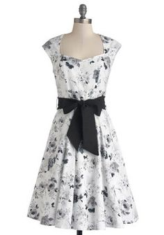 High Noon Harvest Dress in White Watercolor, #ModCloth Crisp White with black details. Needs red other colored mary janes for an unexpected pop of color.