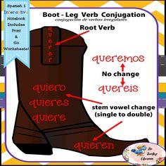 Spanish 1 Irregular Verbs - Boot Leg Conjugation Verbs - Interactive Notebooks$