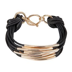 Multi Strand Metal Cord Bracelet, Gold online at JohnLewis.com