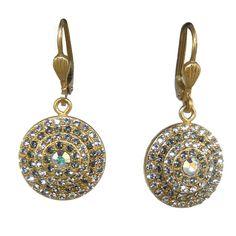 La Vie Parisienne Gold Round Pave Earrings 4148G Catherine Popesco #LaVieParisienne #DropDangle