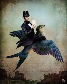 top hat delivery ...flown in by the blu bird express..    christian schloe / blu bird letter delivery