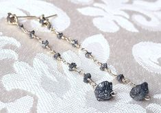 Rough Black Diamond and Yellow Gold Drop Earrings - Long Dangle Earrings - April Birthstone - Delicate Diamond Earrings - Raw Diamond by GaiasCandy on Etsy Gold Drop Earrings, Dangle Earrings, Diamond Earrings, Raw Diamond, Diamond Cuts, Beautiful Earrings, Solid Gold, Dangles, Just For You