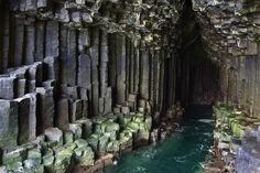 Fingal's Cave on the island of Staffa in Scotland - Although it may seem like this block structure is man-made, it was actually formed by hexagonally jointed basalt columns within a Paleocene lava flow. Places Around The World, Oh The Places You'll Go, Places To Travel, Travel Destinations, Places To Visit, Around The Worlds, Travel Pics, Fingal's Cave, Sea Cave