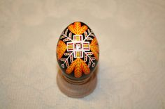 Red, Orange and Black Cross Ukrainian Egg by StiglianoDesigns on Etsy
