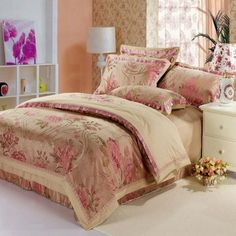 3d4ef5e0bd57a ... silk floral 4pcs bedding set King Queen size duvet cover bed sheet  pillowcases bed linens hot 6219 from Reliable queen size suppliers on ROYAL  HOME
