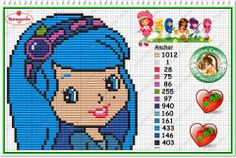 Strawberry Shortcake - Blueberry Muffin - cross stitch/perler bead pattern by Carina Cassol