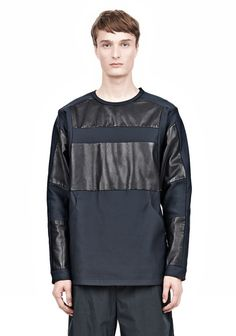 Alexander Wang|| LEATHER PATCHWORK SWEATSHIRT - Long Sleeve Tees Men