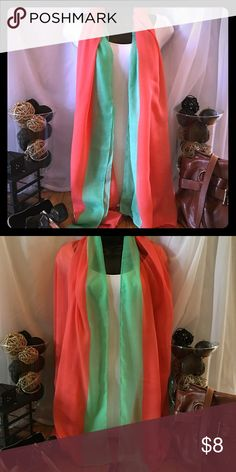 Scarf This coral and mint scarf is oversized and can be worn many different ways, even as a wrap Accessories Scarves & Wraps