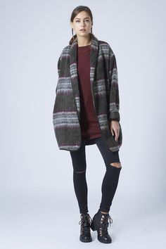 Photo 4 of Fluffy Wool Check Duster Jacket