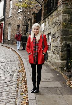 red and plaid and black, England, platinum blonde
