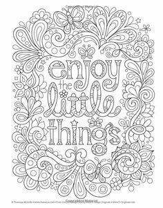 Live for Today Coloring Book (Coloring is Fun) (Design Originals) 32 Inspiring Quotes & Beginner-Friendly Creative Art Activities from Thaneeya McArdle; High-Quality, Extra-Thick Perforated Pages Quote Coloring Pages, Coloring Pages Inspirational, Colouring Pages, Coloring Sheets, Coloring Books, Coloring Pages For Grown Ups, Free Adult Coloring Pages, Mandala Coloring, Printable Coloring