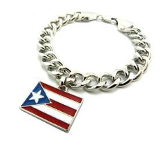 Silver 10mm Puerto Rico Dangling Flag Link Bracelet