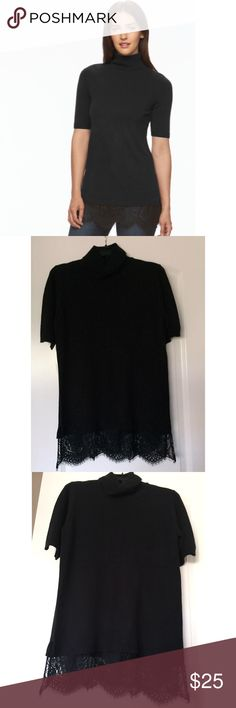 """NWT. Black half sleeve lace hem sweater NWT. Black half sleeve lace hem sweater. Features a delicate lace hem, turtleneck, elbow sleeves. Comes with extra string. About 30""""/32"""" long (without/with lace). True to size. Other colors available in my closet. Sorry, no trades. Like the item but not the price, feel free to make me a reasonable offer using the offer button. Apt. 9 Sweaters"""