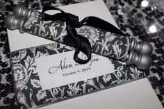 Unique Wedding invitations  - scrolls instead of paper!! Damask black and white with silver dowels. Urban glam wedding