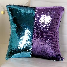 Meijuner DIY Mermaid Sequin Cushion Cover Magical Throw Pillowcase Color Changing Reversible Pillow Case For Home Decor Bolster Covers, Cushion Covers, Throw Pillow Covers, Pillow Cases, Throw Pillows, Mermaid Pillow, Mermaid Diy, Mermaid Sequin, Mermaid Bedroom