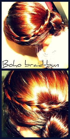 1. Section off about 2-3 inches of hair at the front of your face and keep out of the way. 2. Take remaining hair and twist it into a messy bun (You may tease for extra volume) tie an elastic around and add a few bobby pins for more endurance. Take the sectioned off hair and braid. 4. Let the braid swoop around your head and bobby pin in into the top of the bun. 5. add a bit of hairspray, and walah you're ready to go!