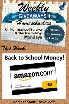 $50 in Back to School Cash!  Yay!  Come get entered!