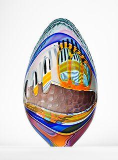 """Egg"" Art Glass Sculpture Created by Jeffrey P'an Glass Vessel, Glass Ceramic, Glass Art, Glass Design, Design Art, History Of Glass, Sandblasted Glass, Painted Gourds, Egg Art"