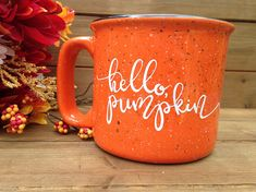 Fall is the best season! All the gorgeous colors, the wonderful scents, the activities! Enjoy some Fall in your cup. Fill this mug with hot cocoa, tea, coffee, PUMPKIN SPICE! Whatever you want!   d e s c r i p t i o n  Hand lettered design Ceramic Speckled Florida Orange Color with white vinyl lettering Hand wash - do not soak Not microwave safe (Vinyl letters) Thick Walled and Lead-Free 4.5W x 3.5H inches Each mug is entirely unique. The speckles will vary greatly per mug.   *Made to order
