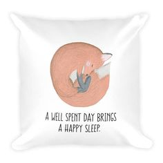 Pillow A Day Well Spent Brings A Happy Sleep Couch Decor Stuffed Washable Removable Cover With Hidden Zipper. Decorative Pillows, Bring It On, Sleep, Coding, How To Get, Couch, Day, Unique Jewelry, Handmade Gifts