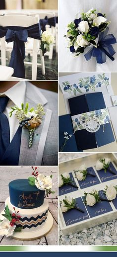 dark navy and green wedding color ideas