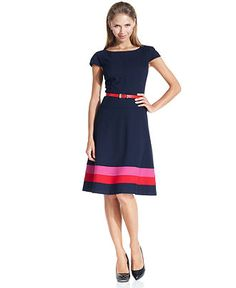 Anne Klein Dress, Cap-Sleeve Belted Striped A-Line - Dresses - Women - Macy's