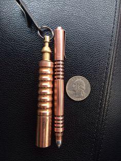 Rick Hinderer Investigator Pen (Copper) & Prometheus QR flashlight (Raw Copper).