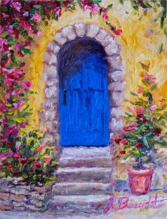 Original Oil Painting Impressionist Blue door by JBeaudetStudios