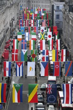 Regent Street Installs National Flags Ahead Of The Olympics