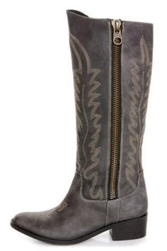 Steve Madden Graced Black Leather Embroidered Cowboy Boots