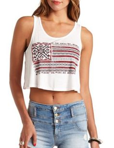 embellished americana graphic swing crop top