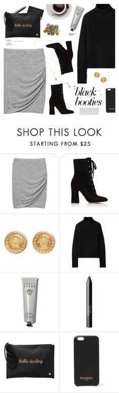 """""""Black Booties"""" by mylkbar ❤ liked on Polyvore featuring Gap, Gianvito Rossi, Versace, Burberry, Bobbi Brown Cosmetics, NARS Cosmetics, Deux Lux, Balmain and blackbooties"""