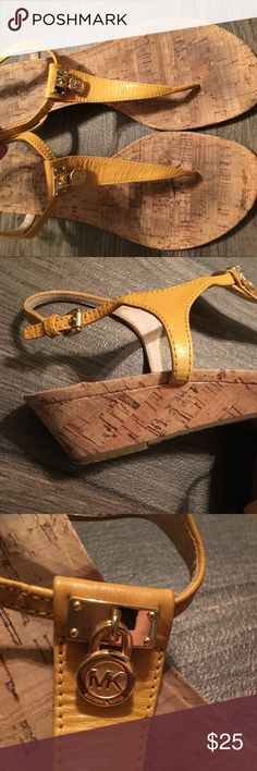 Michael Kors Sandals Cute yellow sandals! Get your spring closet ready!!!!!! 100% genuine leather upper. 8M Michael Kors Shoes