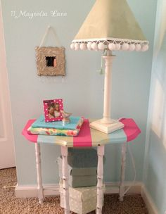 Awning stripes in watermelon pink, aqua blue, and celery green make this vintage table a cheerful accent in a little girl's room. Little Girl Bedrooms, Girls Bedroom Colors, Teen Room Decor, Girl Decor, Teen Rooms, Shared Rooms, Funky Furniture, Painted Furniture, Upholstered Furniture